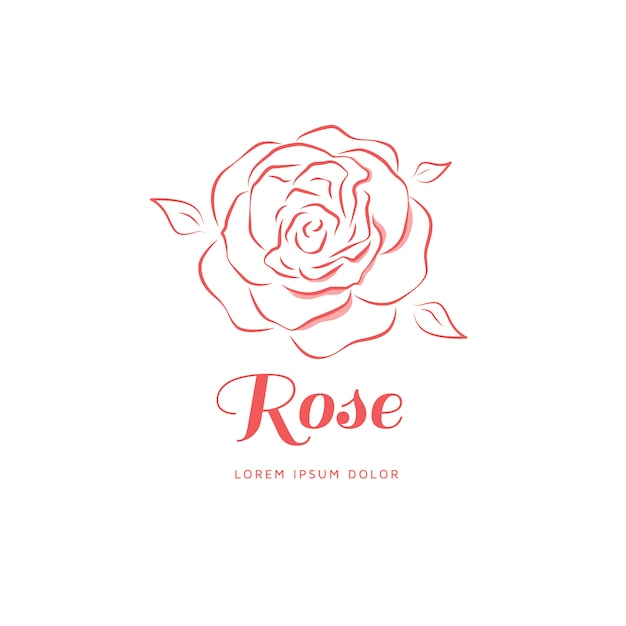 Rose emblem in a linear style. Premium Vector
