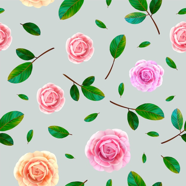 Rose floral seamless pattern with blooming pink and yellow flowers, green leaves on blue gray background. Premium Vector