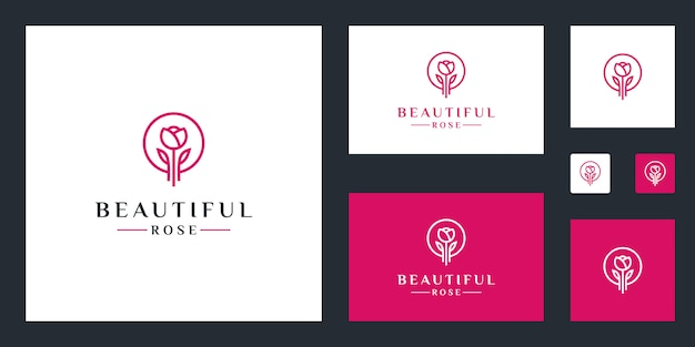 Rose flower logo inspiration simple lines Premium Vector