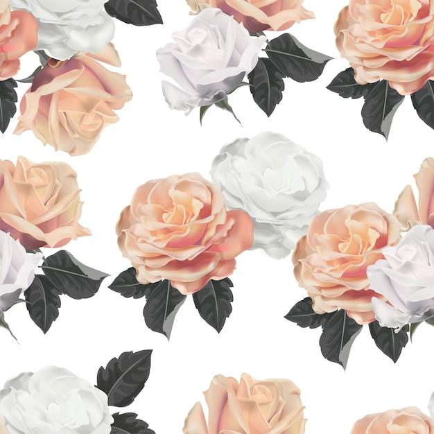 Rose flower seamless pattern vector illustration Premium Vector