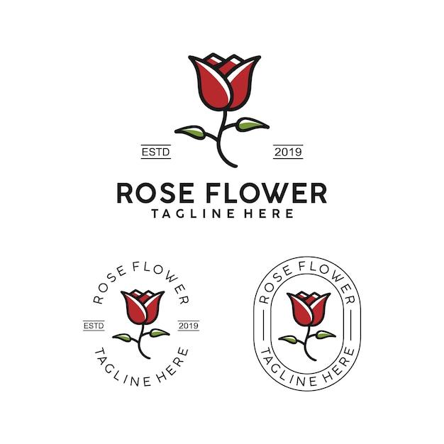Rose flower simple badge logo design Premium Vector