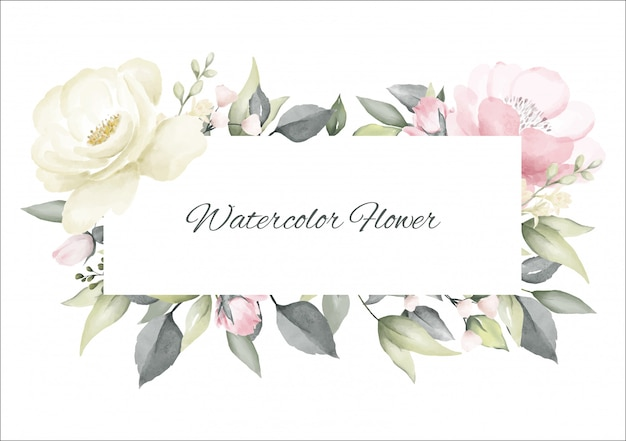 Rose flower watercolor pink and white color frame Premium Vector