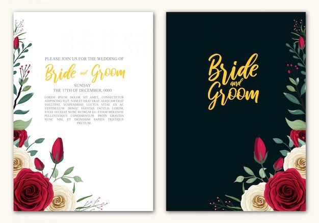Свадебный шаблон rose flower Premium векторы