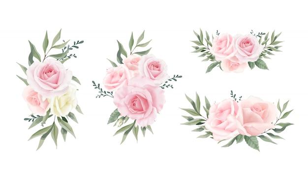Коллекция rose flower листья эвкалипта. набор акварельных цветочных букетов Premium векторы