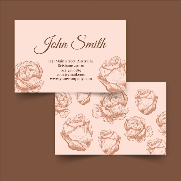 Rose flowers hand drawn floral business card Free Vector
