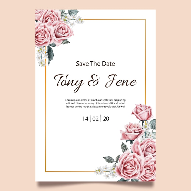 Rose flowers vintage wedding invitation card. Premium Vector