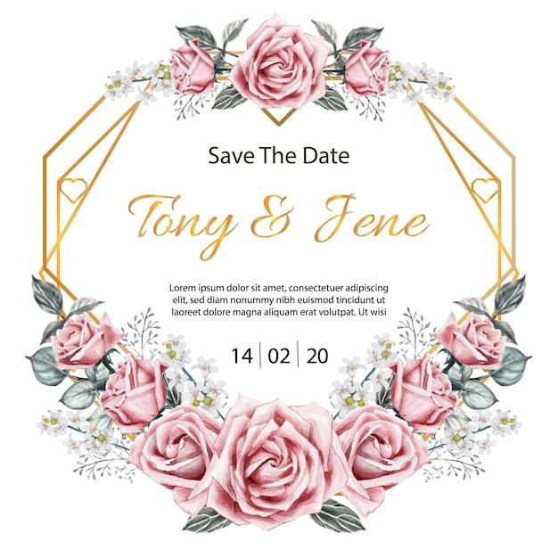 Rose flowers vintage wedding invitation card. Premium Vector