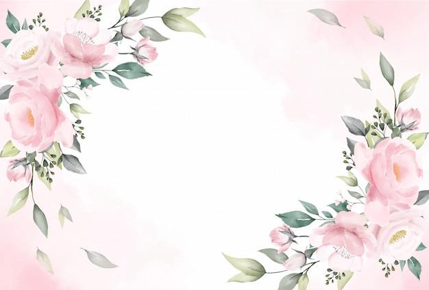 Rose flowers watercolor background vector Premium Vector