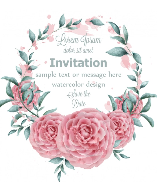 Rose flowers watercolor round frame with green branches Premium Vector