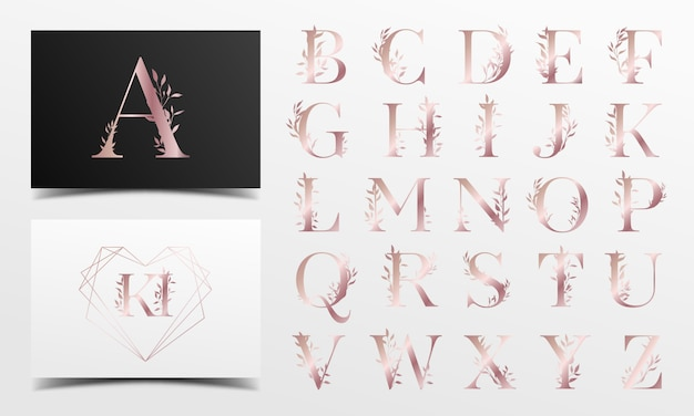 Rose gold alphabet with floral Free Vector