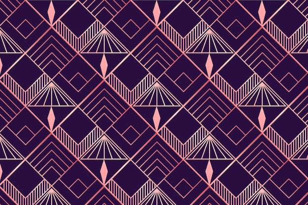 ローズゴールドとパープルのアールデコ調のパターン 無料ベクター