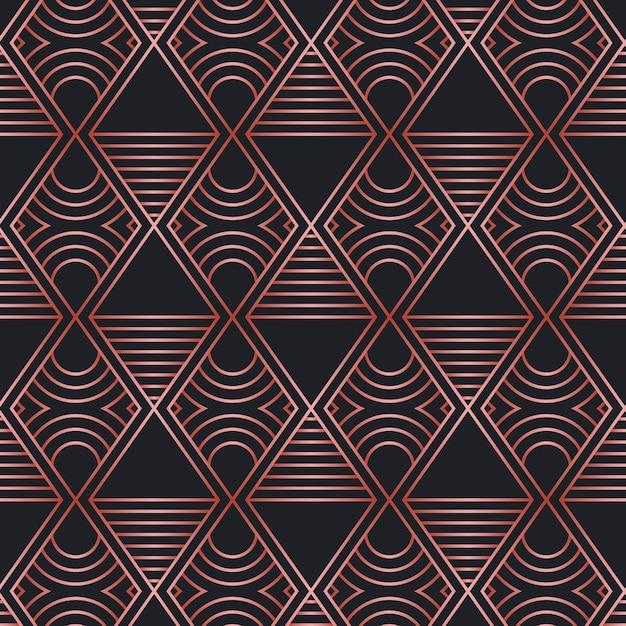 Rose gold art deco pattern Free Vector
