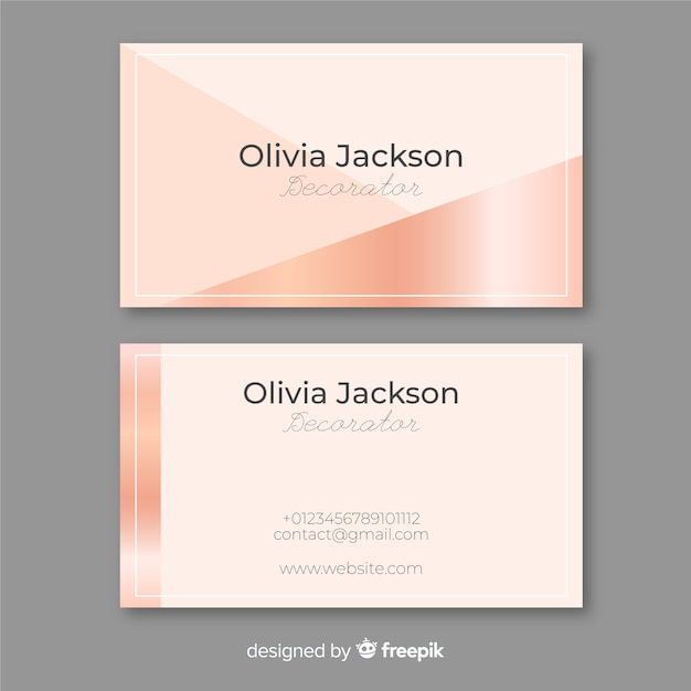 Rose gold business card Free Vector