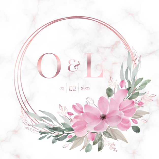 Rose gold circle frame with floral on marble  for wedding monogram logo and invitation card Free Vector