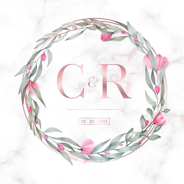 결혼식 모노그램 로고 및 초대 카드 대리석 배경에 꽃과 로즈 골드 원형 프레임 무료 벡터