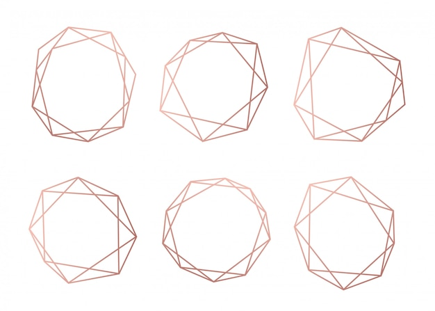Rose gold collection of geometrical polyhedron Premium Vector
