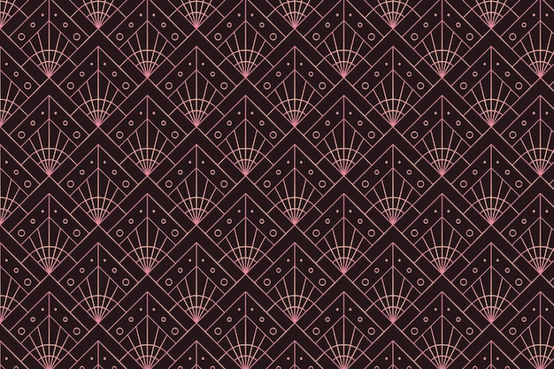 Rose gold decorative pattern on dark background Free Vector