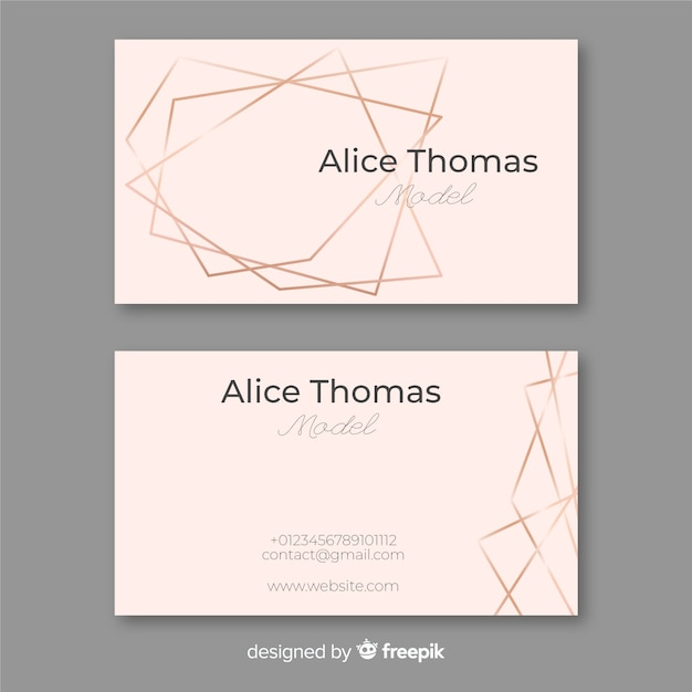 Rose gold frame business card Free Vector