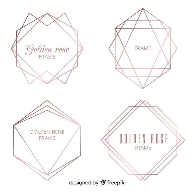 Rose gold frame set Free Vector