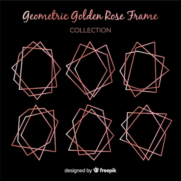 Rose gold geometric frame collection Free Vector