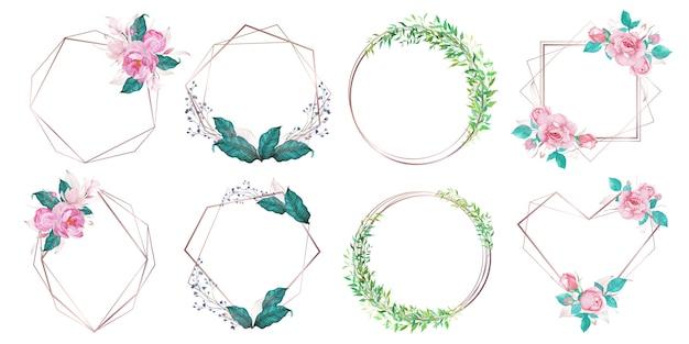 결혼식 초대 카드 수채화 스타일로 꽃 장식 로즈 골드 기하학적 프레임 무료 벡터