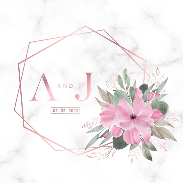 Rose gold geometric frame with floral on marble  for wedding monogram logo and invitation card Free Vector
