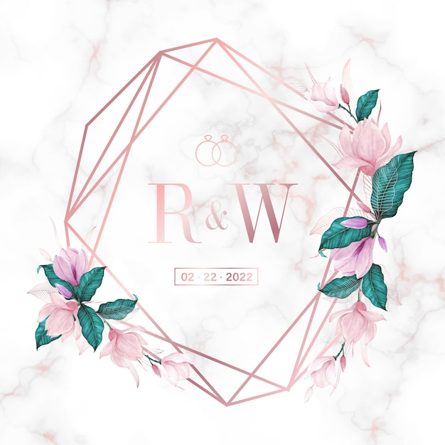 결혼식 모노그램 로고 및 초대 카드 대리석 배경에 꽃과 로즈 골드 기하학적 프레임 무료 벡터