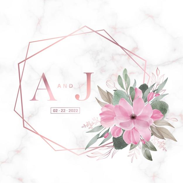웨딩 모노그램 로고 및 초대장을위한 대리석에 꽃이있는 로즈 골드 기하학적 프레임 무료 벡터