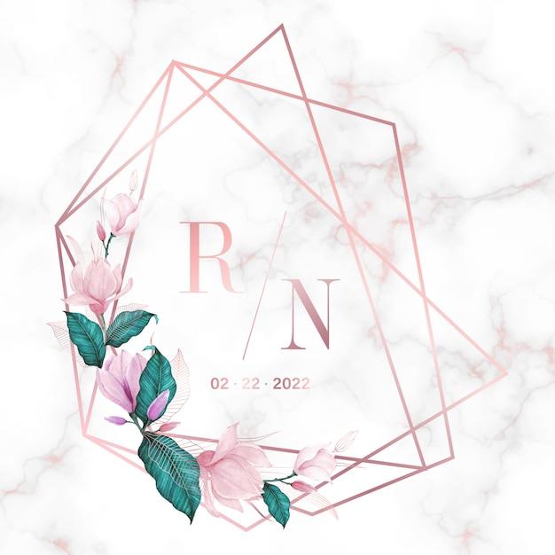 결혼식 모노그램 로고 및 초대 카드 대리석 배경에 꽃과 로즈 골드 형상 프레임 무료 벡터