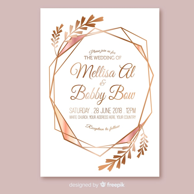 Rose Gold Geometric Wedding Invitation Template Vector