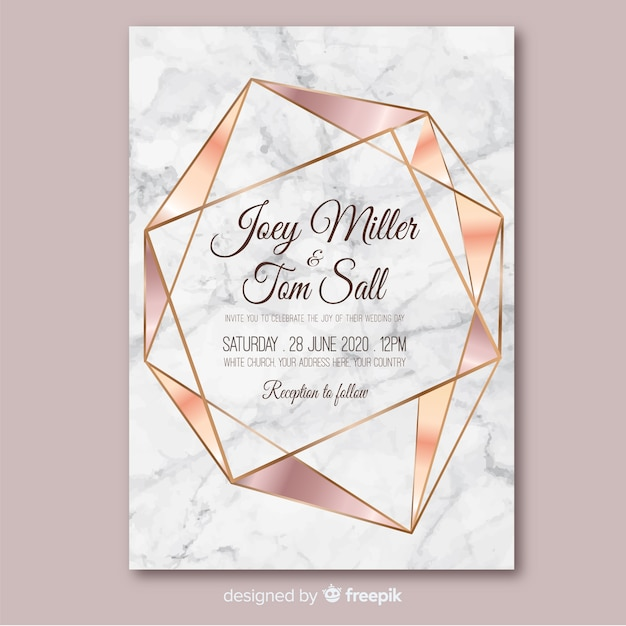 Rose gold geometric wedding invitation template Free Vector