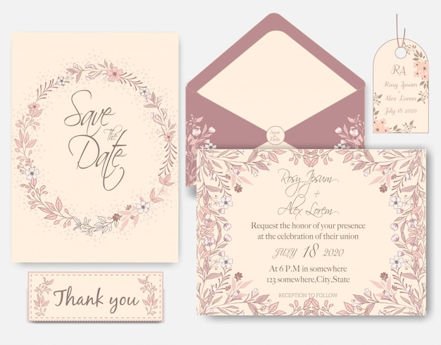 Rose gold glitter pink wedding card  invitation Premium Vector