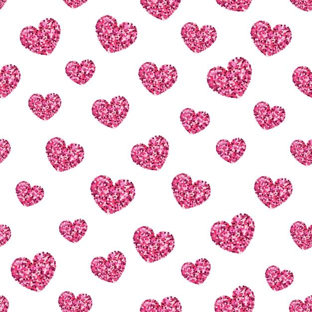 로즈 골드 반짝이 빛나는 마음 완벽 한 패턴. 프리미엄 벡터