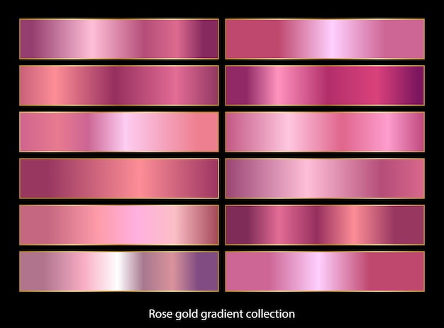 Rose gold gradient backgrounds collection. Premium Vector