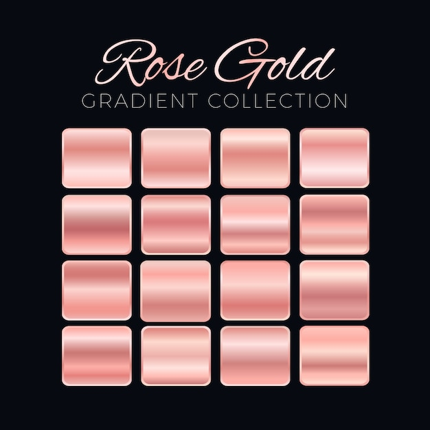 Rose gold gradient blocks collection Free Vector