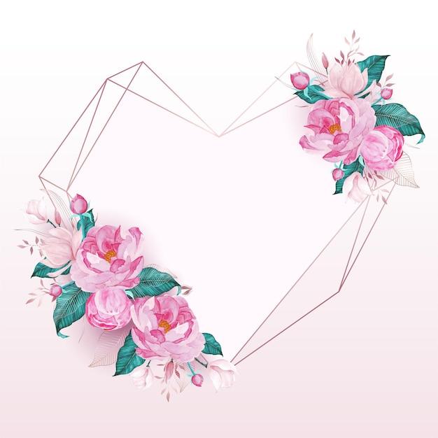 結婚式の招待カードの水彩画のスタイルでピンクの花で飾られたローズゴールドのハートフレーム 無料ベクター