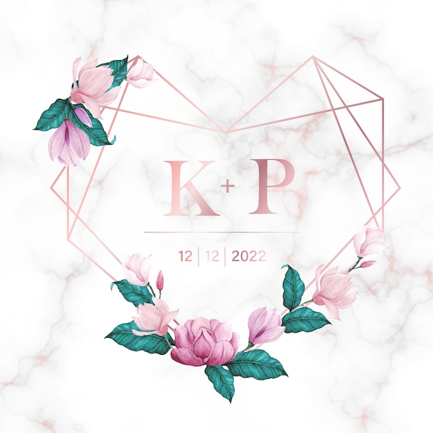 결혼식 모노그램 로고 및 초대 카드 대리석 배경에 꽃과 로즈 골드 하트 프레임 무료 벡터
