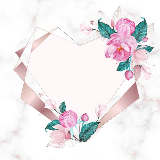 수채화 스타일에 핑크 꽃으로 장식 된 로즈 골드 하트 형상 프레임 무료 벡터