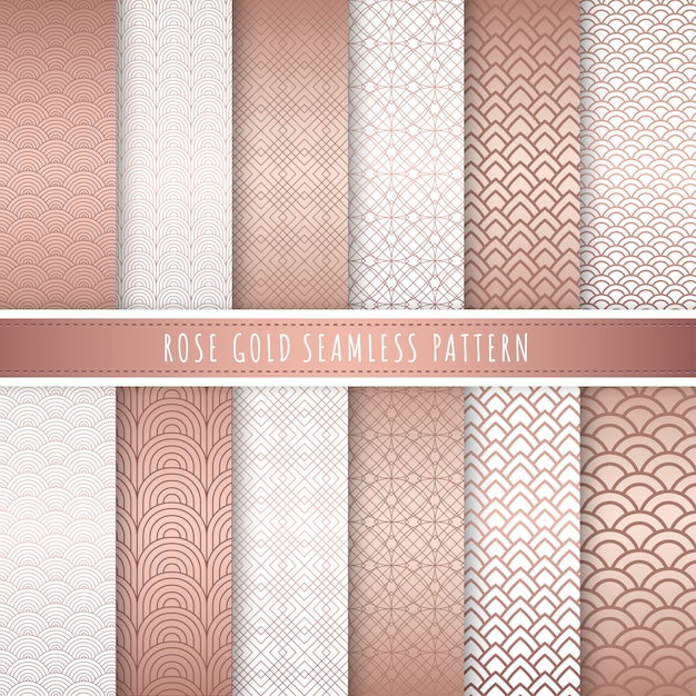 Rose gold luxury pattern seamless collection. Premium Vector