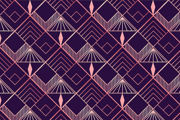 Rose gold and purple art deco pattern Free Vector