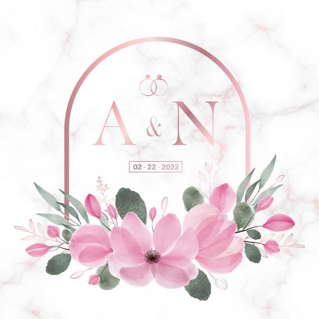 웨딩 모노그램 로고 및 초대장을위한 대리석에 꽃 무늬가있는 로즈 골드 둥근 사각형 프레임 무료 벡터