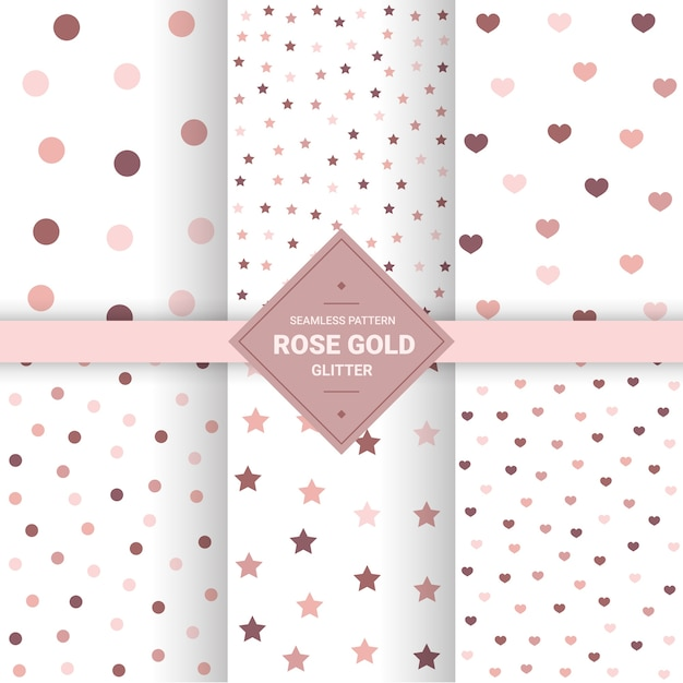 Rose gold seamless patterns. Premium Vector