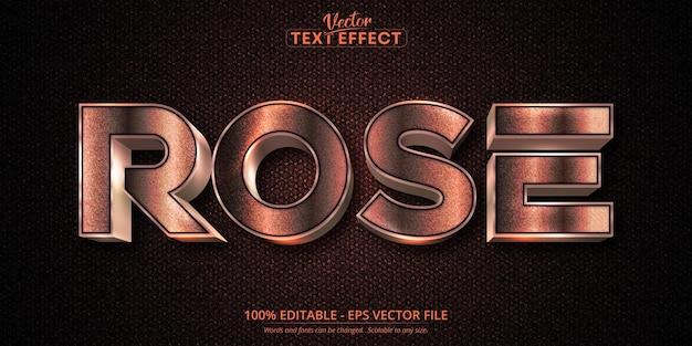 로즈 골드 텍스트 효과, 반짝이는 로즈 골드 알파벳 스타일 프리미엄 벡터