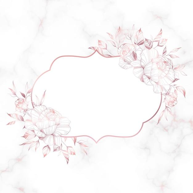 대리석 배경에 장미 꽃과 장미 골드 빈티지 프레임. 무료 벡터