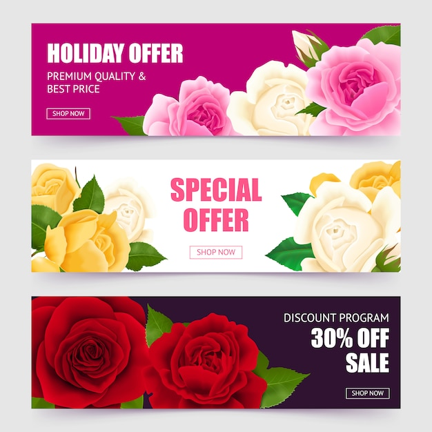 Rose horizontal banners set with special offer symbols realistic isolated Free Vector