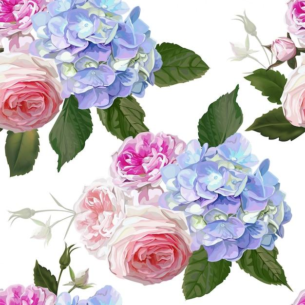 Rose and hydrangea seamless pattern Premium Vector