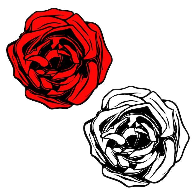 문신 스타일의 장미 그림입니다. 로고, 라벨, 엠 블 럼, 사인, 배너, 포스터 요소. 삽화 프리미엄 벡터