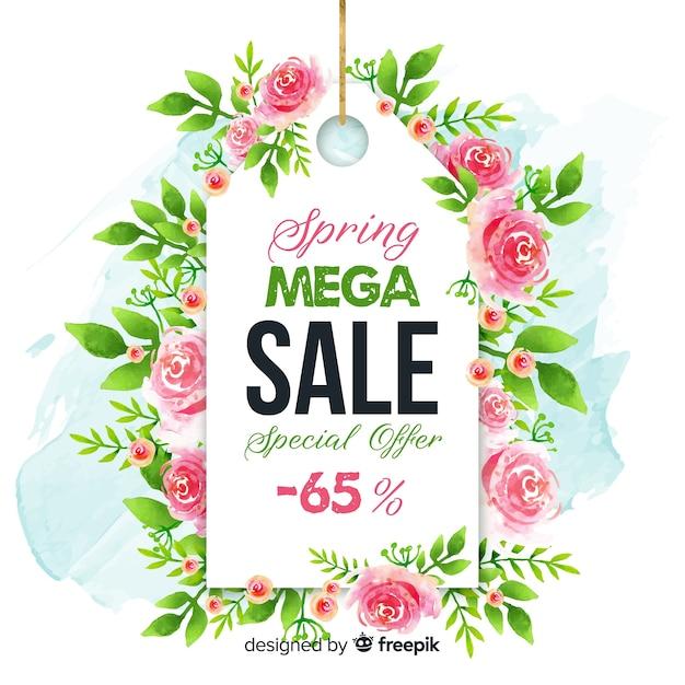 Rose label spring sale background Free Vector