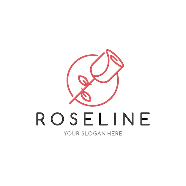 Шаблон логотипа rose line Premium векторы