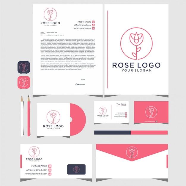 文房具付きのラインスタイルのバラのロゴデザイン Premiumベクター